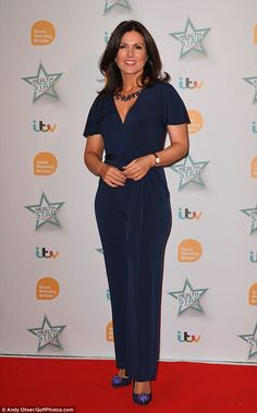 Wowing them: Susanna Reid looked gorgeous in an elegant navy jumpsuit for Good Morning Britain's Health Star Awards at the London Hilton on Thursday Navy Jumpsuit, Jumpsuit Style, Susannah Reid, Charlotte Hawkins, Kate Garraway, Good Morning Britain, Star Awards, Hot Outfits, Woman Crush