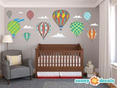Up, up and away! Take to the skies every time you enter your child's bedroom with our whimsical hot air balloons fabric wall decals. These charming decals will conjure up magical memories of your own childhood as you and your family transform a room into an old-fashioned aircraft thoroughfare. These colorful and fun designs will transform any room in your home.
