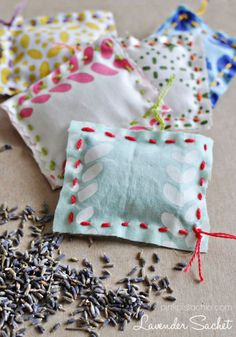 Lavender Sachet DIY Kid Sewing Project Easy Sewing DIY for Kids Teach Children Kids - Sewing Projects Sewing Projects For Kids, Sewing For Kids, Diy For Kids, Craft Projects, Lavender Bags, Lavender Sachets, Scented Sachets, Fabric Crafts, Sewing Crafts