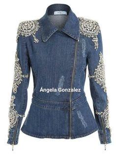 50 different ideas of denim jackets decor - Denim Jacket Outfit New Mode, Denim Fashion, Fashion Outfits, Look Jean, Mode Jeans, Denim Ideas, Recycle Jeans, Jeans Denim, Denim And Lace