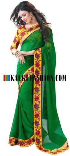 Buy Online from the link below. We ship worldwide (Free Shipping over US$100) http://www.kalkifashion.com/green-saree-with-printed-border-8604.html Green saree with printed border