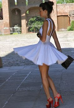 cute white short dress with red heels