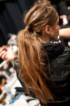 "Fabulous!! My daily hairstyle is going to be a trend for fall. I need to keep it up. Perfect the technique. ~ Low slung #ponytail with the ""undone"" look for Fall 2012 at Tibi"