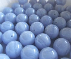 Blue Lace Agate 8mm Round Beads, Blue Chalcedony 8mm Round Beads, (24 beads - 7.75 inches), LOT 708 by ItsAJewelryThing on Etsy