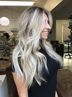 Hair Type: All Hair Texture: All Hair Goals: Shine, Smooth + Sleek, Defined Curls Size: 1 1/2 in Cool Blonde Hair Colour, Ice Blonde Hair, Blonde Hair Shades, Blonde Hair Looks, Balayage Hair Blonde, Blonde Hair Highlights, Curled Blonde Hair, Icy Blonde, Hair Color Blondes