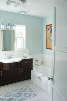 this is a bathroom i could actually do. i love the wall color