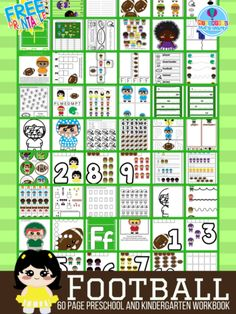 60 Page Preschool and Kindergarten Football Themed Free Printable Worksheet and Activity Book Are you ready for some football? Here are 60 pages of different football themed preschool and kinderga… Childcare Activities, Preschool Learning Activities, Free Preschool, Preschool Lessons, Alphabet Activities, Preschool Worksheets, Book Activities, Sports Activities, Football Crafts