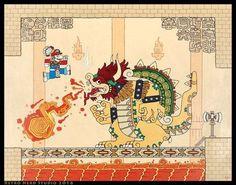 Mario and Bowser Aztec art style mural Mundo Super Mario, Super Mario Art, Mario And Luigi, Mario Bros, Jhon Green, Nintendo Game, Nintendo 2ds, Aztec Art, Animes Wallpapers