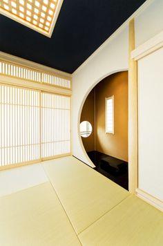 施工事例:和室リフォーム[格子組のデザイン天井が印象的な離れ 東 ...