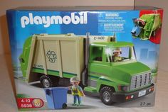 NEW SEALED Playmobil Set 5938 Green Recycling Truck w/ Figures Recycle Bin City #Playmobil