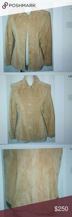 Lord & Taylor leather jacket short trench coat L $350. Petite leather jacket short coat tan suede Blazer button up top. Good condition some dirt stains around the wrists and collar see pics for details Lord & Taylor Jackets & Coats Blazers