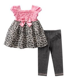 This Youngland Pink & Gray Leopard Tunic & Leggings - Infant & Toddler by Youngland is perfect! #zulilyfinds
