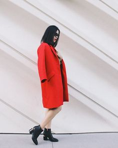 Michelle (@runwayonthego) Need a little red to cheer up the LA gloom #ootd #lotd #fashionblogger #wiw