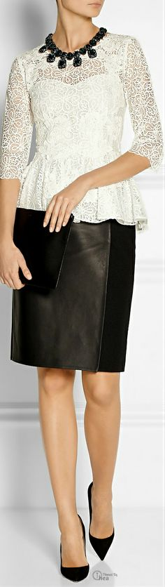 Oscar de la Renta Lace Peplum Top ● Fendi skirt