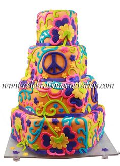 hippie wedding 494833077784345295 - Hippie Wedding Cake- would totally have this ! Source by mmouliets Gorgeous Cakes, Pretty Cakes, Amazing Cakes, Crazy Cakes, Fancy Cakes, Cupcakes, Cupcake Cakes, Trippy Hippie, 70s Hippie