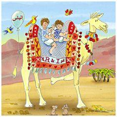 Een uniek geboortekaartje voor Ilias, die samen met z'n 2 grote broers bovenop een kameel zit in Egypte!