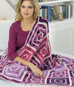 Passionate About Purple Crochet Throw Crochet Pattern   Red Heart