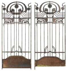 Pair Art Nouveau Wrought Iron Gates
