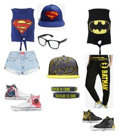 """Batman and Superman best friends outfit"" by kcat425 on Polyvore featuring Converse"
