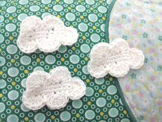 4pcs  White Cloud Crochet Appliques  made to order by appliquefarm, $2.00