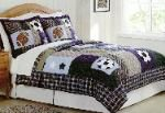 Sports Collage Bedding - (All Sports Bedding) This all sports bedding set, Sports Collage,  has classic sports themes that dominate this  easy to coordinate bed.  Deep navy blue and  green and beige colors and an accent plaid  make this bedding an easy match for any  pallet.  This quilt features cotton patchwork  face cloths with 100% hypoallergenic fiber  fill.