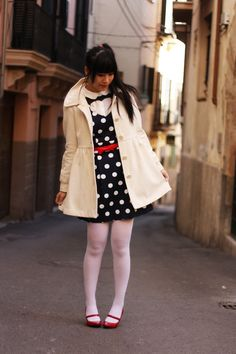 Discover this look wearing Navy BLANCO Dresses, Neutral H&M Coats, White Calzedonia Tights, White Bimba & Ls - Polka Dots by MomoY styled for Shopping in the Winter Japanese Street Fashion, Harajuku, Tights, Polka Dots, Hearts, Celebs, Street Style, Navy, Coat