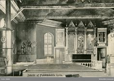 Interior of the church in Fiskebäckskil. Most churches a,long the west-coast are built of stone , stone being very cheap and wood fairly rare in the county. The church of Fiskebäckskil is built of wood and has survived. This is part of the the interior - as usual in the area painted mainly with scenes of hell and paradise and important scenes from the bible, during the 19th century, when few could read. Here John baptises Christ.