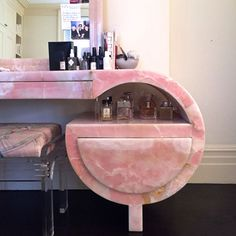Pink marble vanity – formerly Mae West's. Room for the voddies too xXx Dream Home Design, Home Interior Design, 1980s Interior, Bar Deco, Aesthetic Room Decor, Dream Apartment, Pink Marble, Beauty Room, Dream Rooms