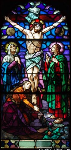 """""""The Crucifixion of Jesus Christ"""" Religious Stained Glass Window"""