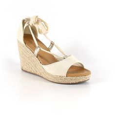 Pre-owned American Eagle Outfitters  Wedges ($19) ❤ liked on Polyvore featuring shoes, beige, beige shoes, wedge shoes, american eagle outfitters, wedge heel shoes and beige wedge shoes