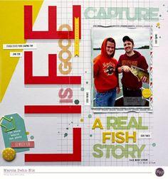 Fishing Scrapbook Layouts | 12X12 Layouts | Scrapbooking Ideas | Creative Scrapbooker Magazine #scrapbooking #12X12layouts #fishing