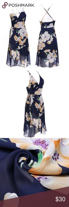NWOT• SEXY STRAP WRAP DRESS PLEASE READ DESCRIPTION AND MEASUREMENT POSTED - Polyester Material. Navy Blue Floral. Wrap Around. For Summer and Autumn. Slim style. For casual or beach. Bust 28.9-33.2in Waist 26.5-29.6 Front lenght 36.3in. DON'T WAIT FOR A PRICE DROP! MAKE AN OFFER 😊 17* Dresses Midi