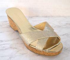 dd1b0d292a46 JIMMY CHOO 38 Panna Gold Leather Cork Sandals Slides 7.5 NEW  JimmyChoo   Slides
