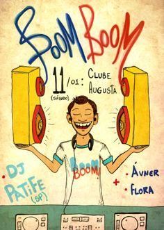 Desenho para a festa Boom Boom com Dj Patife em Uberlândia.