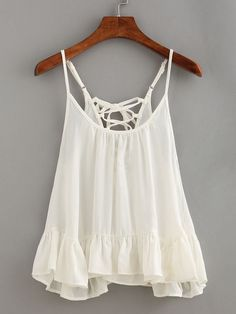 4d0056eb87682c Lace-Up Ruffled Hem Cami Top - White Summer Tank Tops, White Camisole Top