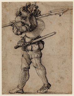 1507-1508 (circa) Drawn by: Hans Schäufelein.  Landsknecht (mercenary) with his head turned to look behind him; soldier wearing armour and plumed helmet, carrying a halberd, a sword in his hand. c.1507-8 Pen and black ink.