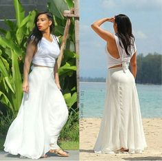 Kim kardashian beach look white skirt and shirt love the back of the outfit