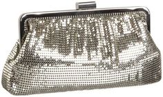 Whiting & Davis Contemporary Shirring Clutch,Pewter,one size Whiting & Davis. $89.58. Logo lining. Metal mesh. Frame bag has snap top closure. Small zip accessory pocket on interior wall. Chain strap has a 9 drop and may be tucked inside. Save 46%!