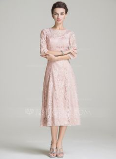 A-Line/Princess Scoop Neck Tea-Length Zipper Up Sleeves Sleeves No 2016 Other Colors Spring Summer Fall General Plus Lace Mother of the Bride Dress Mob Dresses, Tea Length Dresses, Types Of Dresses, Bridesmaid Dresses, Dresses With Sleeves, Bride Dresses, Fashion Dresses, Mother Of Groom Dresses, Mothers Dresses