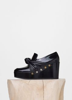 Bow Wedge Pump in Soft Spazzolato and Calfskin  - Céline