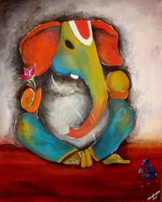 FOR SALE! This piece is - colorful Ganesh - inbox or DM For pricing or questions! Lord Ganesha Paintings, Ganesha Art, Krishna Art, Ganesha Sketch, Clay Ganesha, Indian Folk Art, Indian Art Paintings, Mural Painting, Silk Painting