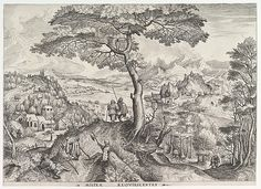 Johannes and Lucas van Doetecum after Pieter Bruegel the Elder - Soldiers at Rest (Milites requiescentes) from The Large Landscapes, 1555-60. Etching and engraving.