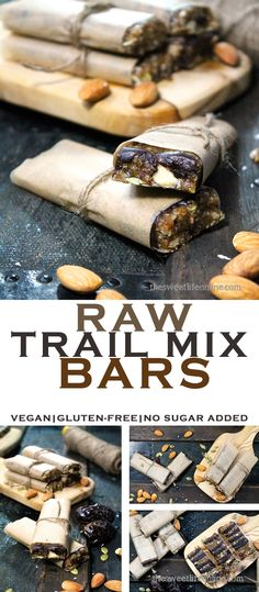 Looking for a healthy, mid-day pick me up? How about these Raw Trail Mix Bars. Vegan, gluten-free, & no sugar added!
