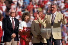 Hall of Famers Y. Tittle, Joe Perry stand next to Bob St. Clair who speaks to the fans during a game between the San Francisco and Tampa Bay Buccaneers at Candlestick Park on November 1990 in San Francisco, California. University Of San Francisco, Candlestick Park, Joe Perry, Ca Usa, Tampa Bay Buccaneers, Professional Football, National Football League, San Francisco 49ers, Classic Looks