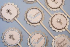 Baby Boy Baptism Christening Cupcake Toppers by TootnBoo on Etsy, $10.25