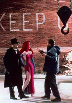 Who Framed Roger Rabbit (1988) - Jessica with Christopher Lloyd (left) and director Robert Zemeckis.