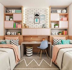 Teen bedroom themes must accommodate visual and function. Here are tips to create the coolest teen bedroom. Girl Bedroom Designs, Bedroom Themes, Girls Bedroom, Bedroom Decor, Twin Bedroom Ideas, Teen Bedroom Colors, Twin Girl Bedrooms, Twin Room, Kids Bedroom Ideas For Girls