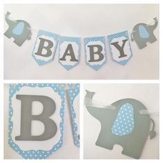 Elephant Baby Banner in Blue and Grey Blue and by AllDiaperCakes