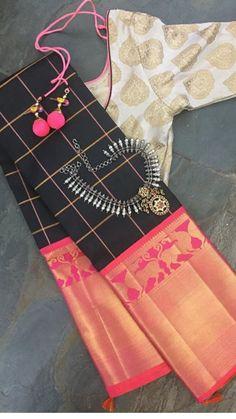 Black Kanchipuram Saree paired with white embroidered blouse Kanjivaram Sarees, Kanchipuram Saree, Silk Sarees, Saris, Ethnic Sarees, Indian Sarees, Traditional Sarees, Traditional Outfits, Indian Dresses