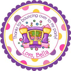 Pink and Purple Bounce House Personalized Stickers  by partyINK, $6.00